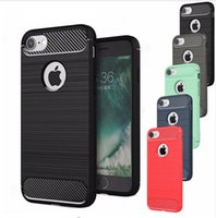 Wholesale Rhinestone Cases For Iphone 5s - Luxury Hybrid Shockproof Carbon Fiber Texture Brushed Soft TPU Silicon Case For iPhone 6 6S 7 7 Plus 5 5S Bumper Back Cover