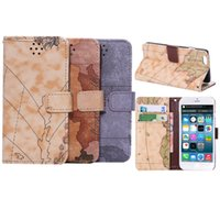 Wholesale map covers - For Iphone 5 5S Se 6 6S 7 Plus Flip Cover World Map PU Leather Case Wallet Phone For Galaxy S6 S7 Edge Case Stand Card Slot Cover OPP BAG