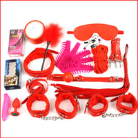 Wholesale Ball Gag Nipple Clamps - New Sexy 17 Pcs Set Kit Fetish Sex Bondage Sex Toys for Couples, 4 colors ,Nipple Clamps Foot Handcuff Ball Gag Whip Collar Eye mask