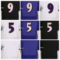 Wholesale China Elite - Mens 9 Justin Tucker Jerseys 5 Joe Flacco Jerseys and Blank Elite White Purple Black Stitched Football Jerseys China Free Shipping