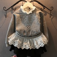 Wholesale Boys Fake 2pcs - Wholesale- 2016 autumn new lace collar jacket gray long sleeve baby girls Hoodies fake 2pcs letter style infant girls party pearl costume