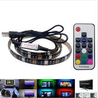 24v led neon toptan satış-5050 DC 5 V RGB LED Şerit Su Geçirmez 30LED / M USB LED Işık Şeritleri Esnek Neon Bant 1 M 2 M TV Arka Plan Için Uzaktan ekleyin