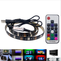 Barato Fita 5v-5050 DC 5V RGB LED Strip À prova de água 30LED / M USB LED Light Strips Flexible Neon Tape 1M 2M adicionar remoto para o fundo da TV