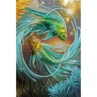 Wholesale Wall Paint Fish - Fantasy Fish DIY Diamond Painting Embroidery 5D Beauty Cross Stitch Crystal Square Unfinish Home Bedroom Wall Art Decor Craft Gift