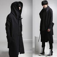 ingrosso giacche di lana nere-All'ingrosso mens casual cappotto di lana con cappuccio moda lunga trench coat hip hop nero cappotto lungo con cappuccio giacca