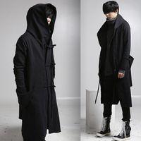 erkek yün palto uzun toptan satış-Toptan-erkek casual yün palto kapüşonlu moda uzun trençkot erkekler hip hop siyah uzun coat hoodie ceket