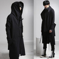 Wholesale draped hoodie - Wholesale- mens casual wool overcoat hooded fashion long trench coat men hip hop black long coat hoodie jacket