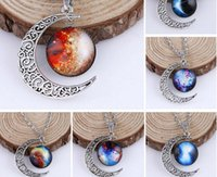 Nueva llegada Silver Chain Triple Moon Goddess Colgante Black Wiccan jewelry Moon Goddess Necklace Glass Dome Pentagram Gargantilla Collares Mujeres
