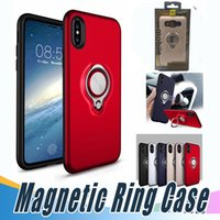 Wholesale Silver Plastic Rings - For iPhone 8 X 360 Ring Holder Magnetic Back Cover Hybrid Armor Defender Case with Retail Package For Sumsung S8 iPhone 7 6 6S Plus 5 5s SE