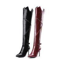ingrosso altezze della cosce burgundi-2017 new Fashion Leather Shoes Women Super High Heels Sollido Stivali coscia Zipper Punta a punta sopra gli stivali al ginocchio Burgundy nero