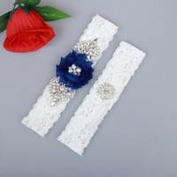 Wholesale lace wedding garters blue for sale - Group buy 2 Pieces Set Bridal Garters Lace Wedding Belt Set Pearls Handmade Royal Blue Chiffon Flower Rhinestones Vintage Prom Gift Cheap In Stock