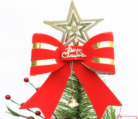 Wholesale Large Decorative Bells - Wholesale-Large bell bow Best Promotion Lovely Shiny Xmas Decorative Christmas Star Tree Topper for Table Top Ornament W771