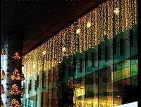 açık bar perde toptan satış-9 M * 1 M 450 LEDS Tatil Aydınlatma Dizeleri Noel Perde Işıkları Ev Bahçe Bar Açık Dekorasyon için Garland Avize