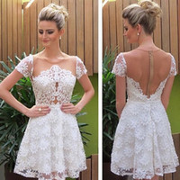 Wholesale See Through Homecoming Dresses - Romantic Little White Sheer Lace Homecoming Dresses A Line Illusion See Through Jewel Neck Cap Sleeves Mini Short Cocktail Party Prom Gowns