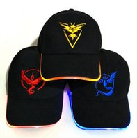 Wholesale Wholesale Wool Fiber Yarn - LED Flash!!! Adult Poke Go Baseball Caps Fashion Poke Hats Casual Pikachu Caps Adjustable Poke Ball Snapbacks Hats CR2032 Battery DHL