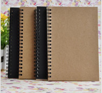 Wholesale Business Memos - Portable Business kraft papers Notepads black drawing sketch Notebook Spiral 100 sheets journal notebooks school office suppliers notes book