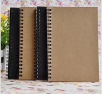 gazete kağıdı toptan satış-Taşınabilir Iş kraft kağıtları Bloknotlar siyah çizim kroki Dizüstü Spiral 100 levhalar günlüğü defterleri okul ofis tedarikçileri ...