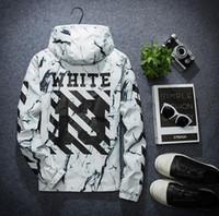 Wholesale Hooded Jackets For Women - off white jackets for men women windbreaker bomber jacket hip hop jaqueta softshell outdoor streetwear sport jacket windbreakers