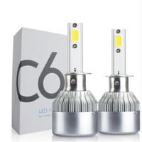 12 lâmpadas led 24v venda por atacado-2x Carro LEVOU H1 72 W C6 Kit de Farol 7600Lm Lâmpadas de Substituição À Prova D 'Água de Estacionamento 12 V 24 V DC Frete Grátis