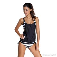 Wholesale Tankini Swimwear Shorts - 2017 women Stripes swimwear push up Tankini Top maillot de bain bathing suit swimsuit plus size shorts bikinis free shipping