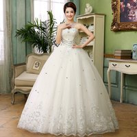 Wholesale Tulle Strapless Ball Gown China - Cheap China White luxurious wedding dresses with crystal strapless ankle length lace up high quality ball gown princess dress in wedding