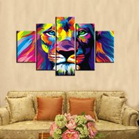 Wholesale textured oil paintings - 5pcs set Colourful Lion Wall Art Oil Painting On Canvas No Frame Animal Textured Abstract Paintings Picture Living Room Decor