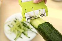 freies fruchtmesser geschnitten großhandel-Multi-function Green Peeler Scalable Tragbare Zwei-Wege Rotierenden Obst Gemüse Messer Schneiden Shred Große Küche Werkzeuge Kostenloser Versand