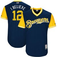Wholesale I Believe - Milwaukee Brewers #12 Stephen Vogt I Believe 2017 Little League World Series Players Weekend Authentic Baseball Jerseys Navy blue Mix Order
