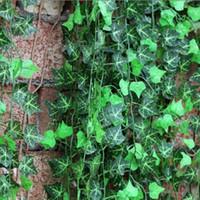 Wholesale climbing wall decor online - Length of cm Artificial Silk Simulation Climbing Vines Green Leaf Ivy Rattan for Home Decor Bar Restaurant Decoration LLFA