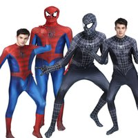 Wholesale Black Spider Costume - Novedan Red Black Spiderman Costume Spider Man Suit Spider-man Costumes Adults Children Kids Spider-Man Cosplay Clothing