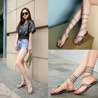 Wholesale Womens Roman Sandals - Wrap Around Womens Sandals Lace-Up Crystal Rhinestone Thong Casual Roman Gladiator Women's Knee Surround Sandals C56Q
