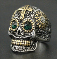 Wholesale Skull Indian - Fashion Jewelry New Band Cross Skull Ring 316L Stainless Steel Polishing Silver New Gift Cool Colorful Eyes Biker Skull Ring
