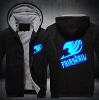 Wholesale Fairy Tail Hoodie - Wholesale- 2017 USA SIZE Unisex Fairy Tail Hoodies Coat Winter Fleece Thicken Luminous Sweatshirts Jacket