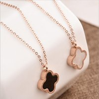 Wholesale black shell jewelry - Double Side Shell Clover Necklace Rose Gold Lucky Four Leaf Clover Pendant Chains fashoin jewelry for Women Drop Shipping