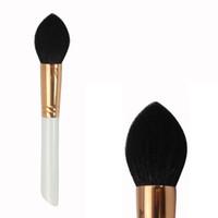 fırçalar makyaj altın toptan satış-R130 Konik Yüz Keçi Saç Allık Fırçası Gül Altın Bakır Yüksük ile Kozmetik Makyaj Makyaj Fırça Seti