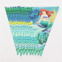 Wholesale Andersen s Fairytales Mermaid print paper flags set banners including small flags m bunting for happy birthday party
