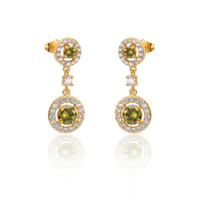 Wholesale Peridot Gold Charm - Choose Your Color Earrings Yellow Gold Plated Natural Gemstone Peridot Garnet Sapphire Stud Ear Stunning Charm Jewelry 43-44