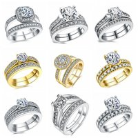 Wholesale Wholesale Gold Group - Romantic Wedding Rings For Women Group Ring 2018 Vintage White Silver Plated With AAA CZ Girlfriend Gift Bridal Jewelry