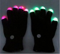 Wholesale Lighted Dance Stages - LED Flash Gloves Five Fingers Light Ghost Dance Black Bar Stage Performance colorful Rave Light Finger Lighting Gloves Glow Flashing OOA291
