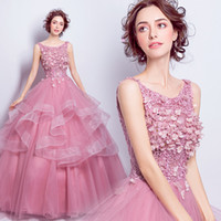 Wholesale Lovely Bride - Rose pink flower embroidery lace wedding bride banquet wedding dress ball gown cake style tulle lovely dress