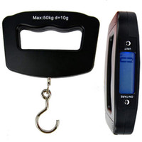 Wholesale Digital Scale Dhl - DHL Shipping Portable Mini Digital Hand Held 50Kg*10g Fish Hook Hanging Scale Electronic Weighting Lage Scale Blue LED Display