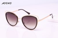 Wholesale Metal Sexy Girls - AOOKO AK7923 High Quality Cat Eye Female Sunglasses Gold Metal Oculos de sol Reflective Summer Lady Pink Sun Glasses Vintage Sexy Shades
