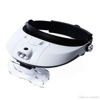Wholesale magnifying glass illuminated - Headband Magnifier With 5 Replaceable lens Detachable LED Light Illuminated Magnifier 6X Eye Glass Magnifying Loupe Headlamp Hot +NB