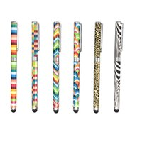 Wholesale Universal Zebra - Wholesale- universal stylus pen for tablet or smart phone with pattern checker zebra colorful design 2 in 1 multi-fuctional pen ballpoint