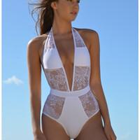 Wholesale Xxl Monokini - Sexy Lace One-pieces Swimsuits XXL Bathing Suits Women High Cut Monokini Swim Suits Lace White Black Swimsuit 1 Pieces Trikinis 2203