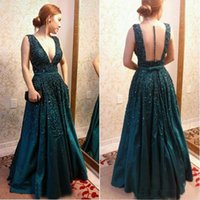 Wholesale Dresess Long - 2017 Hunter Green Formal Celebrity Prom Dresess Illusion Back Deep V Neck Floor Long With Belt Sash Evening Special Occasion Gown
