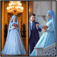 Wholesale Simple Wedding Dress Muslim Woman - robe de mariage Long Sleeve Muslim Wedding Dresses For Weddings With Hijab Gelinlik Blue Lace Women vestido de noiva renda