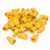 fundas de arranque amarillo al por mayor-Lot 1000PCS X amarillo RJ45 Cable de red Cable de conexión del conector de tapa Cap Boot Cat 5 / 5e / 6 Plug Head