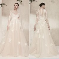 Wholesale Ivory Cream Wedding Dresses - Long Sleeves 2018 Elie Saab Cream Lace Wedding Dresses Vintage Illusion Jewel Neckline Formal Wedding Recepiton Bridal Gowns