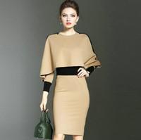 Wholesale long sleeve winter work dresses - Autumn Winter Women's Dress Fashion Package Hip Elegant Dress Lady's Formal Party Evening Business Dresses S M L XL 2XL